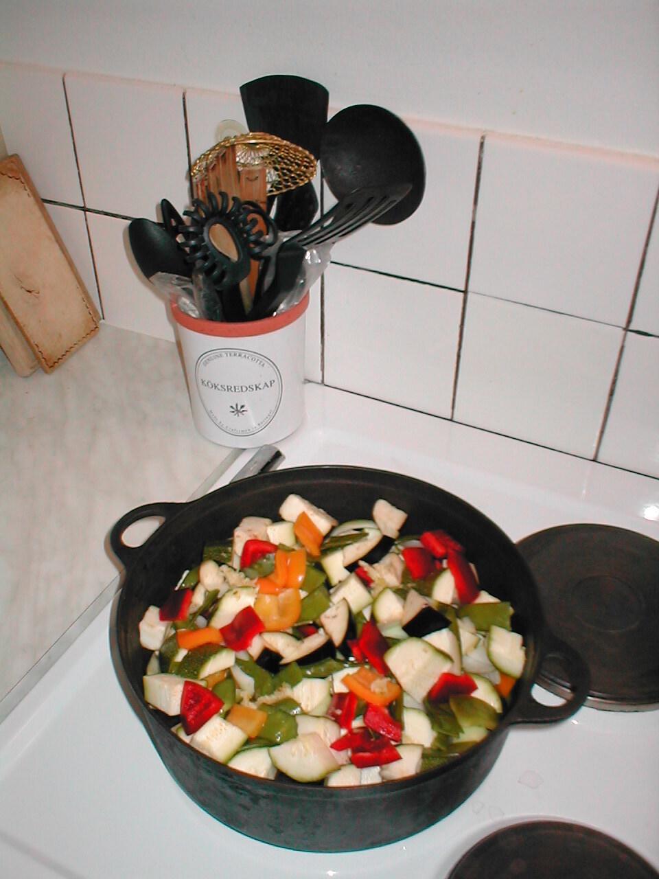 Gratäng med feta och grönsaker
