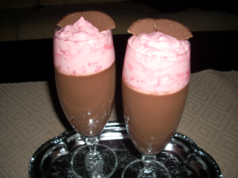 Chokladpannacotta med hallongrädde