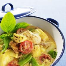 Potatisgryta med kyckling och curry