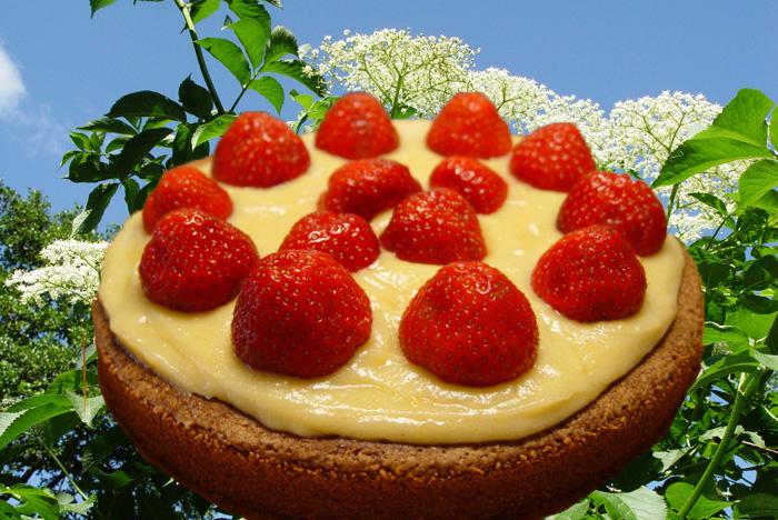 Kladdkaka med fläderblomskräm och jordgubbar