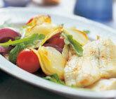 Ugnslagad potatissallad med stekt fiskfilé