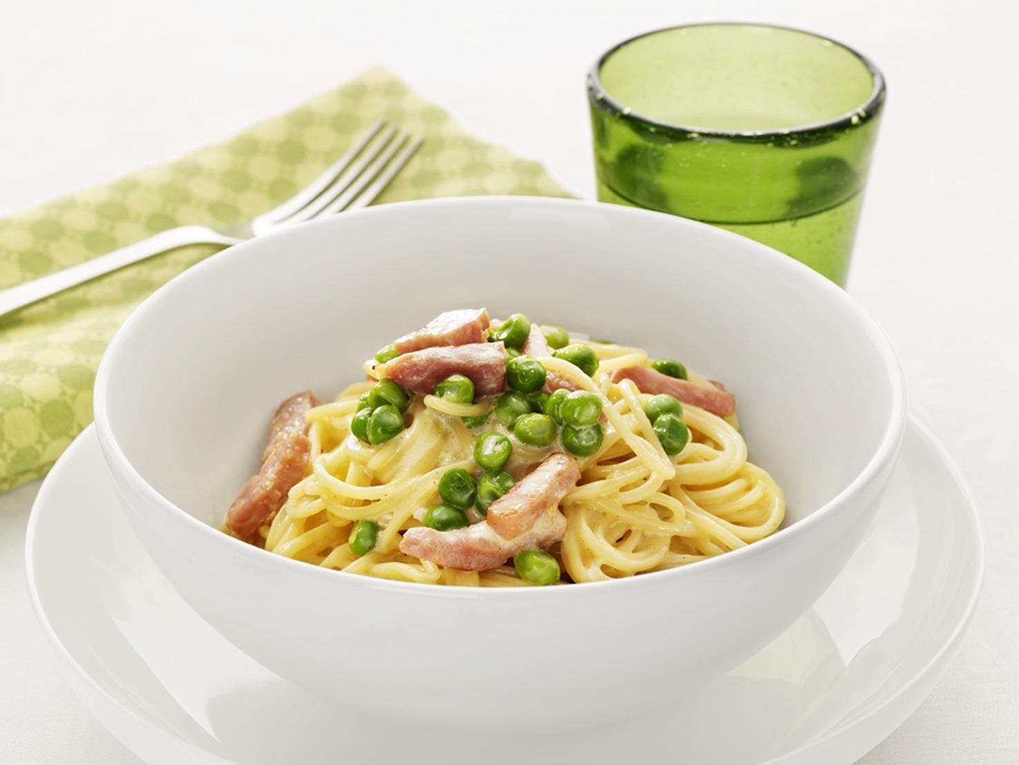 Spaghetti Papalina - Spaghetti med skinka, ärtor och grädde