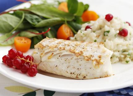 Grillad fisk med vinbärsrisotto