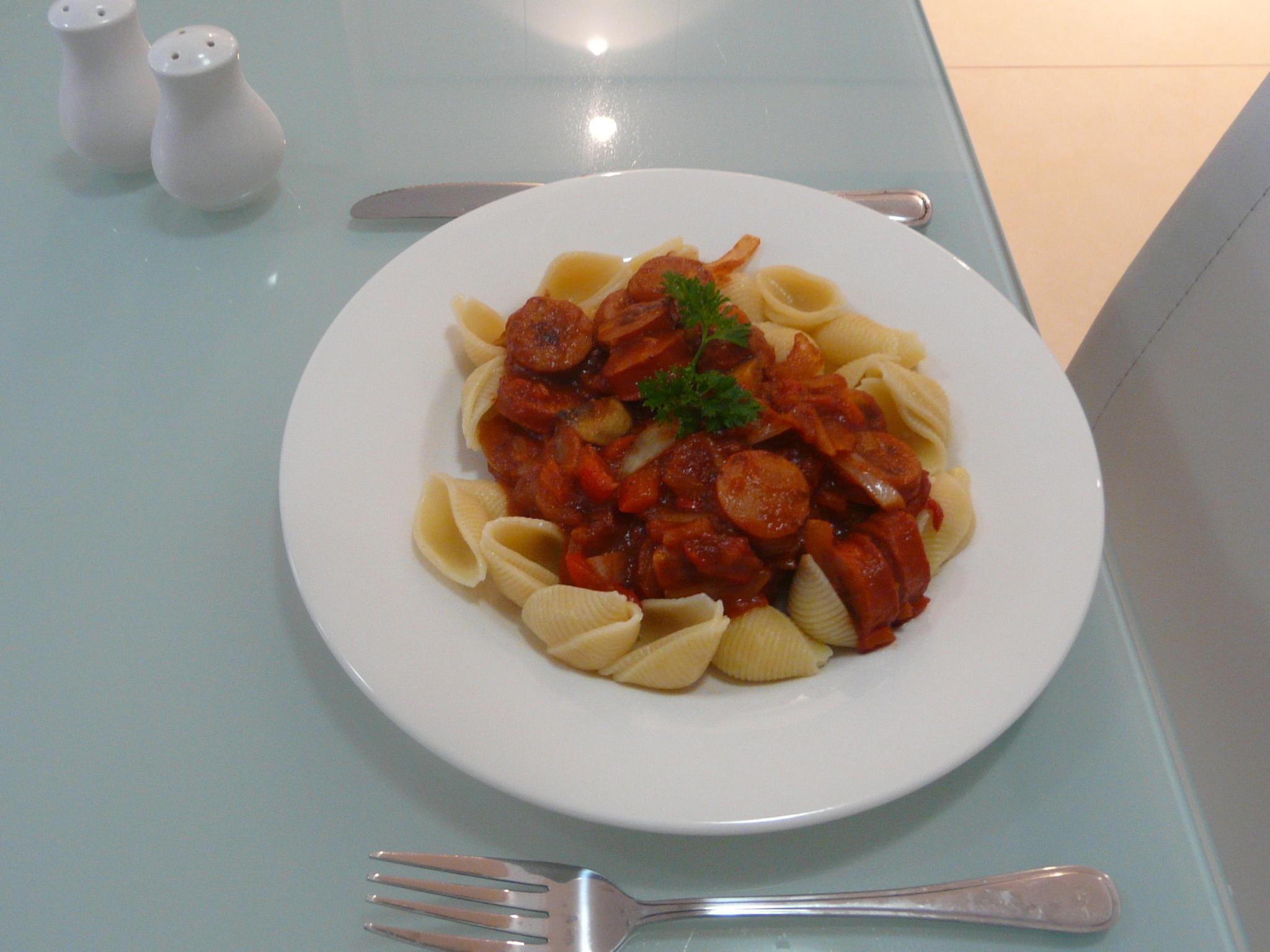 korvgryta med pasta