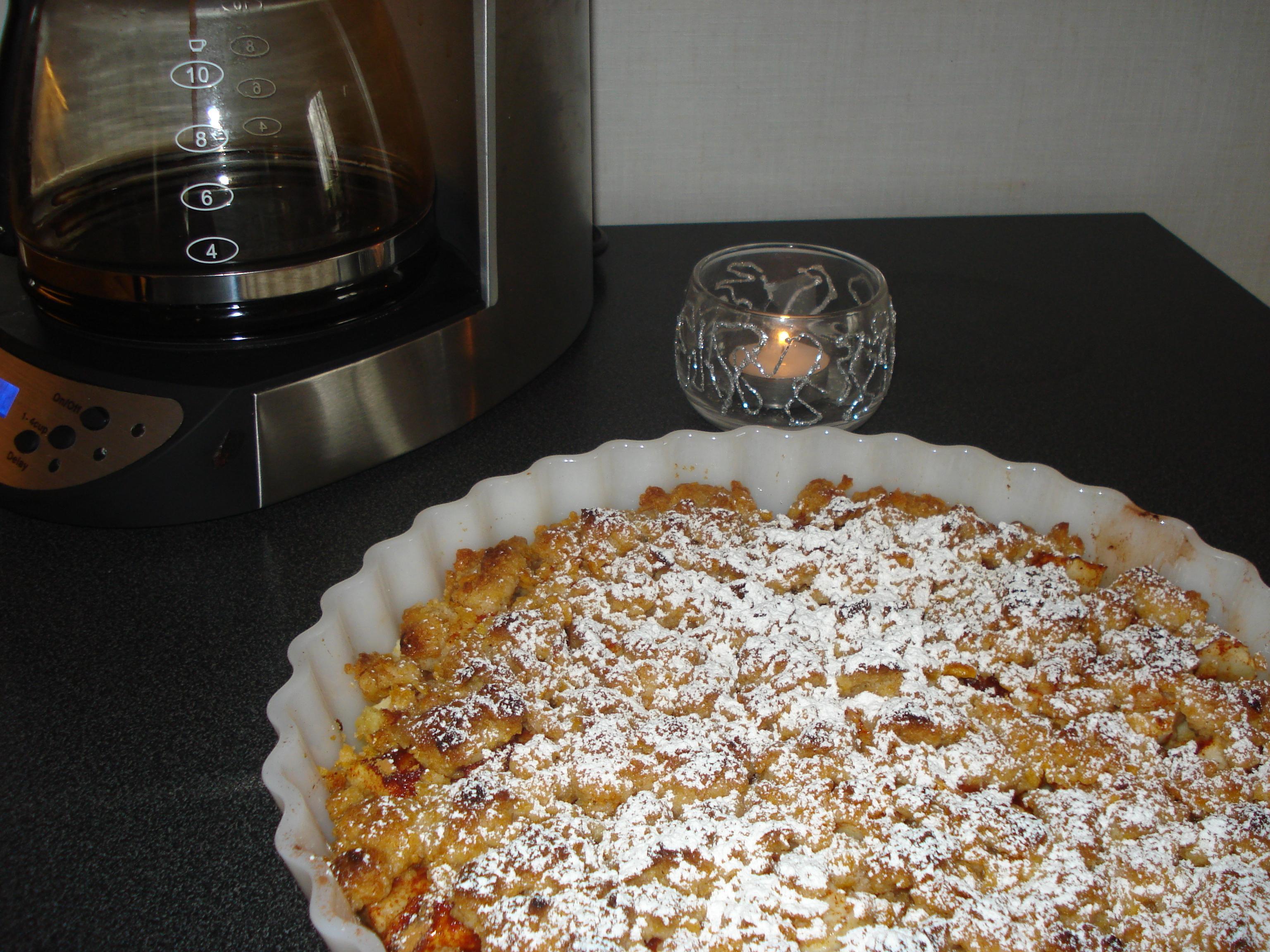 äppelkaka med smuldeg