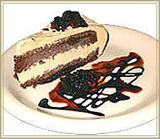 Frozen choklate mousse cake with espresso