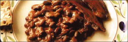 Bruna bönor med stekt fläsk eller...