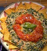 Tortillachipstallrik med spenat