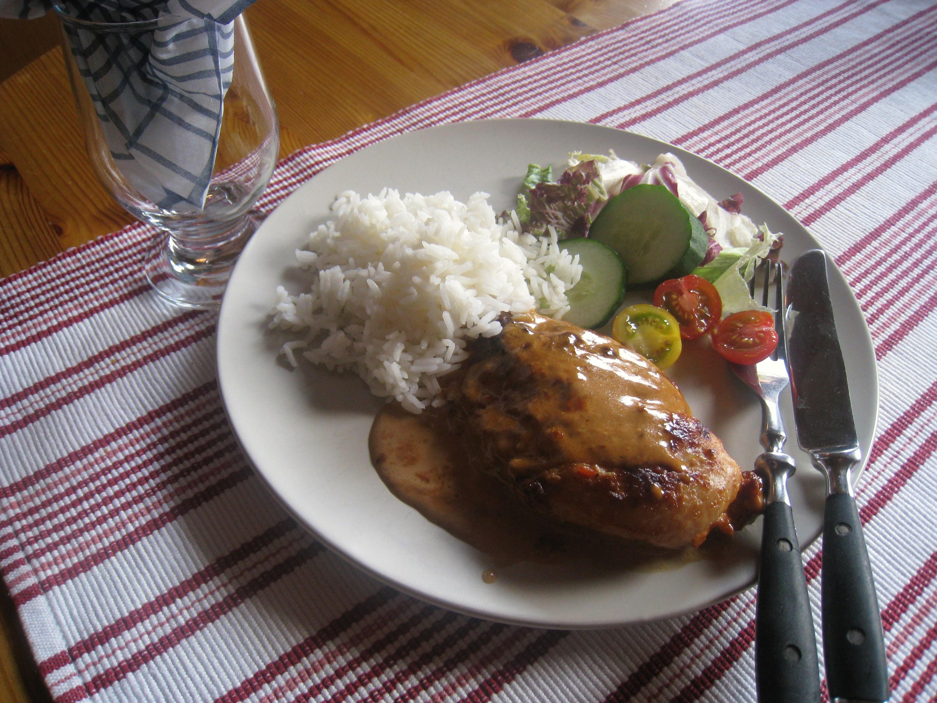 Kyckling i ugn med sambal oelek.