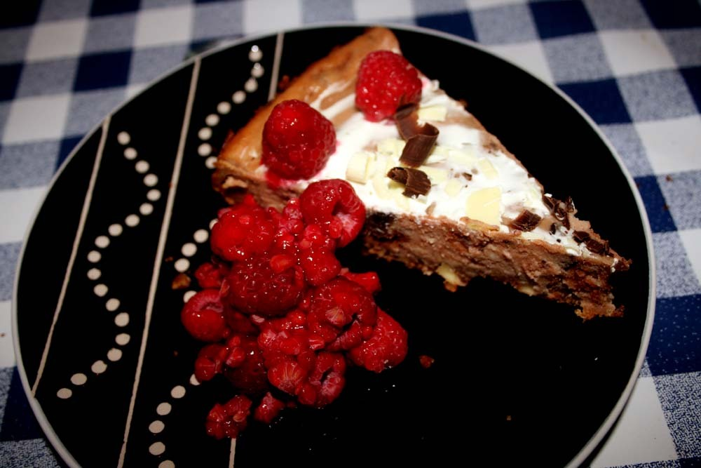 Nougat cheesecake med mörk choklad