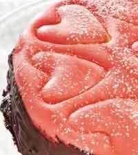 Rosa hjärtbakelse med kärlek i smaken