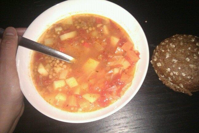 linssoppa med grädde