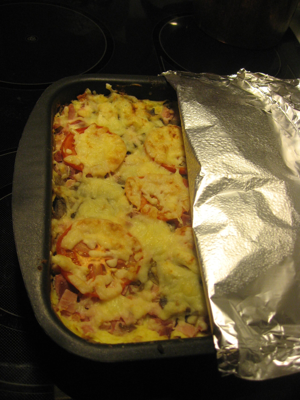 potatislåda och rökt skinka