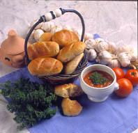 Minibaguetter med vitlök och oliver