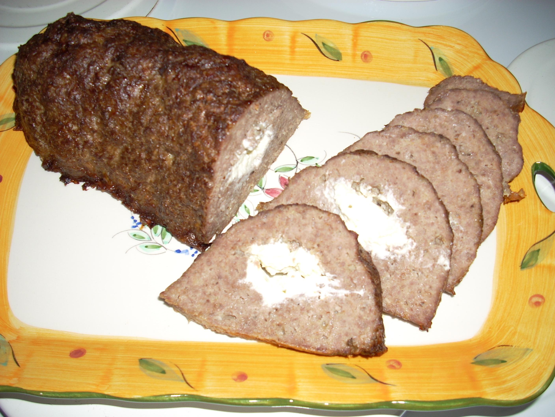 fylld köttfärslimpa i ugn