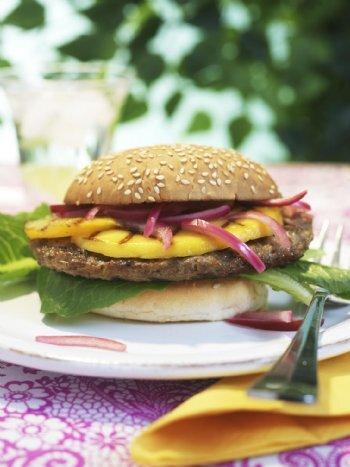 Grillad hamburgare mango style