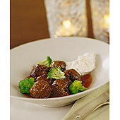 Köttbullar i tandoorisås och banankräm