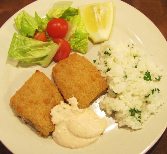 fiskpinnar med ris