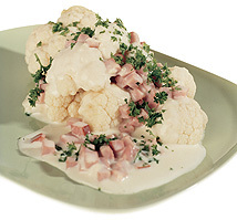 Kokt blomkål med skinksås