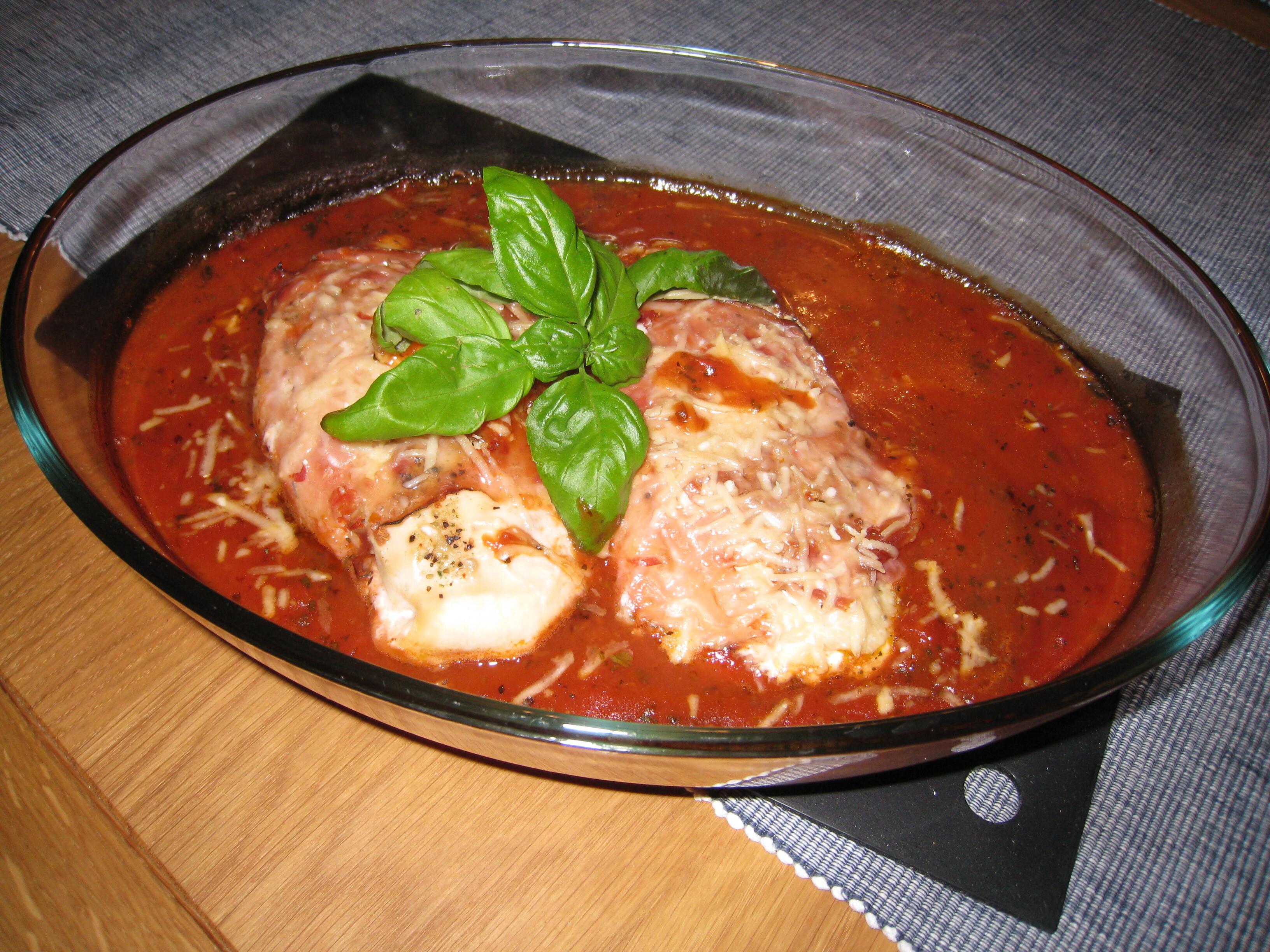 kyckling filéer tomatsås i ugn