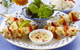 Kycklingspett med asiatisk chili lime sås