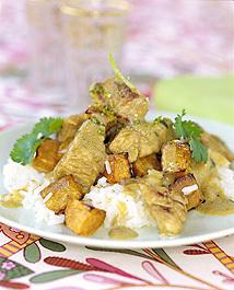Currykalkon med sötpotatis