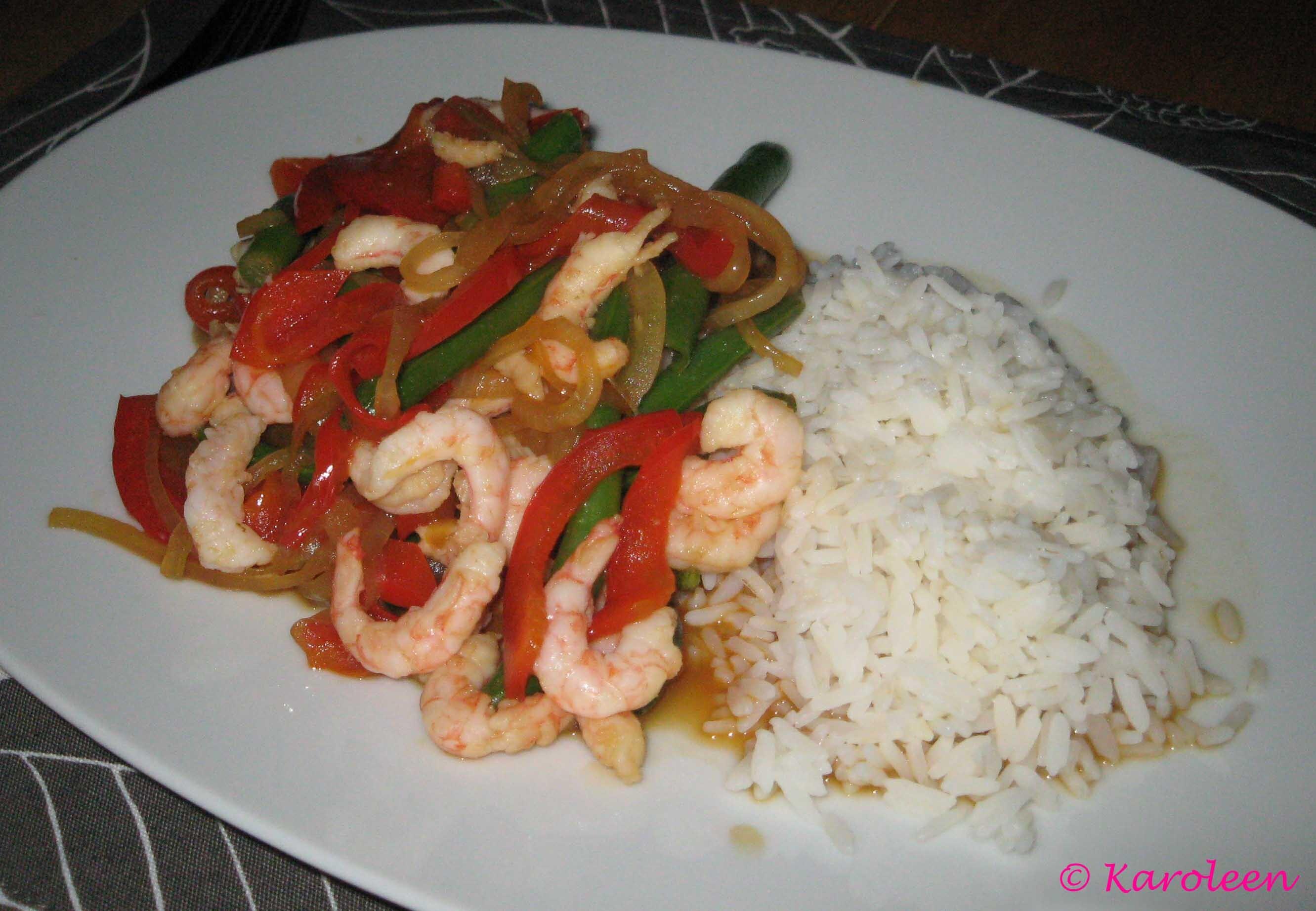 Thailändska räkor med paprika