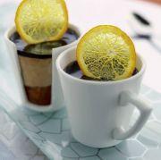 Nougat- och mascarponemousse med apelsinchutney och kaffegelé