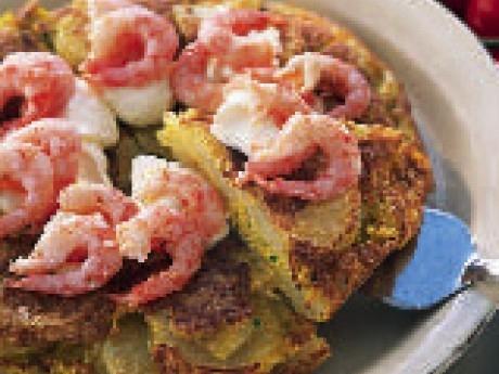 Spansk tortilla med heta vitlöksräkor