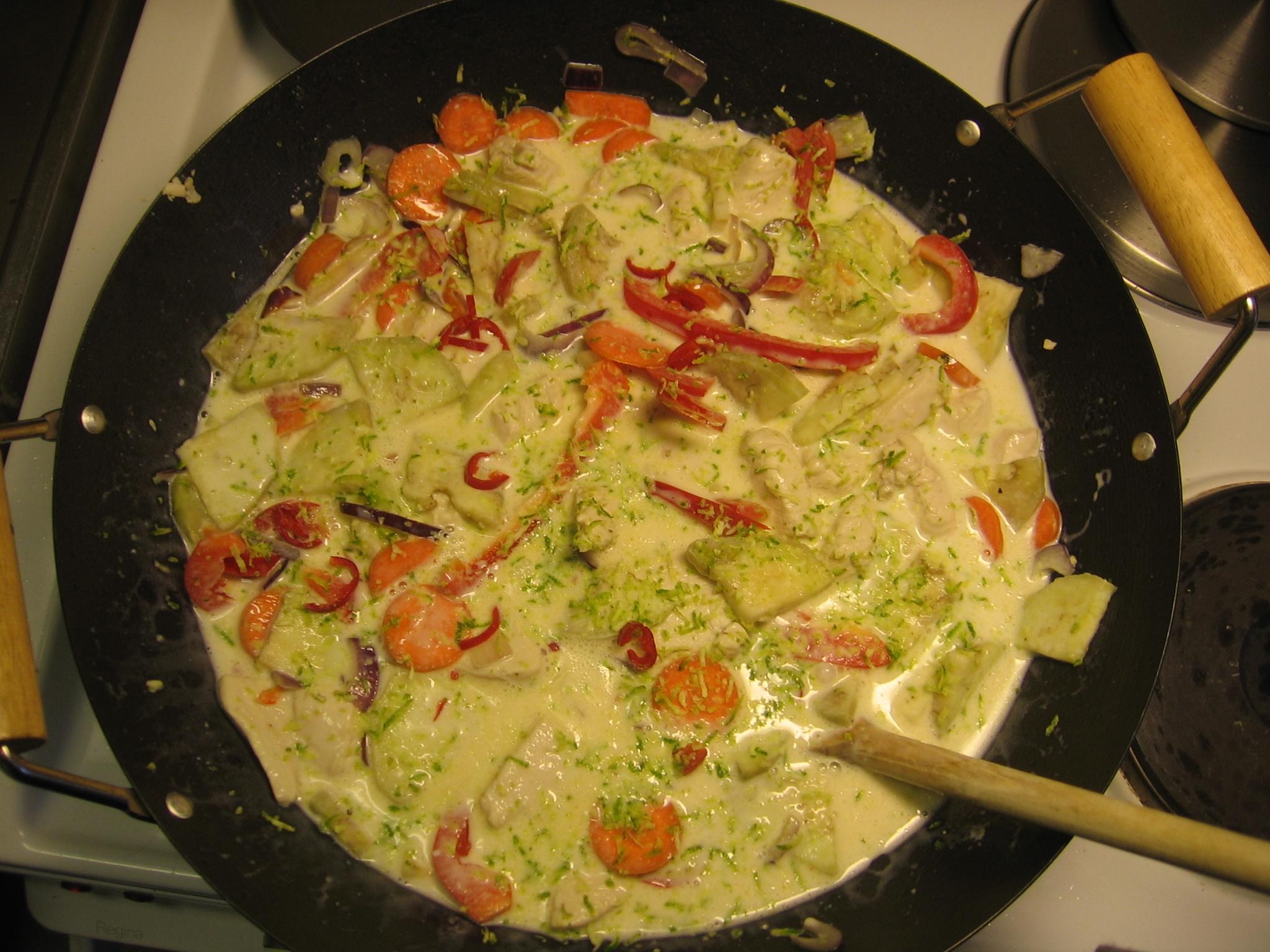 zucchini morötter kokosmjölk kyckling
