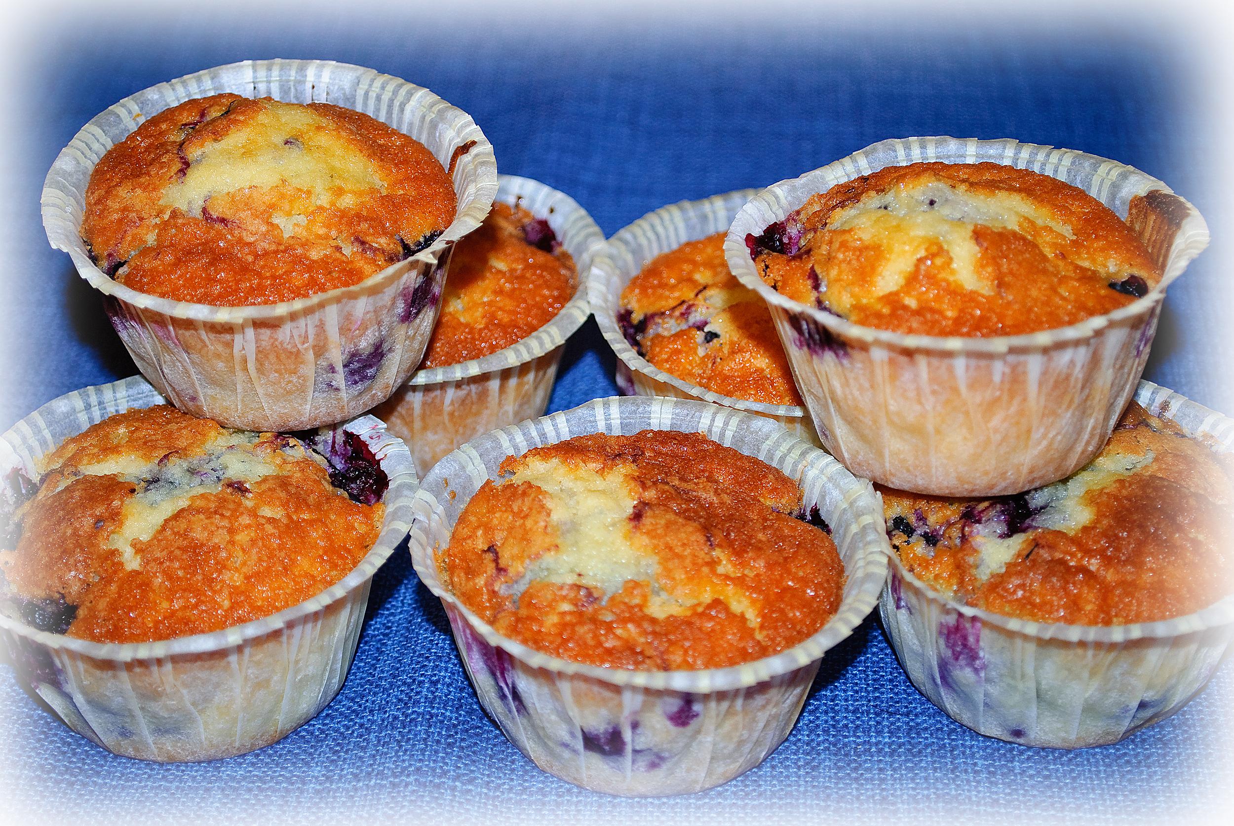 Gunillas blåbärsmuffins med turkisk yogurt