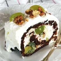 Chokladrulle med vindruvor och nötter