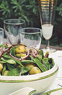 kall potatissallad med vinägrett
