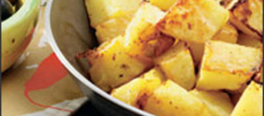 råstekt tärnad potatis i ugn