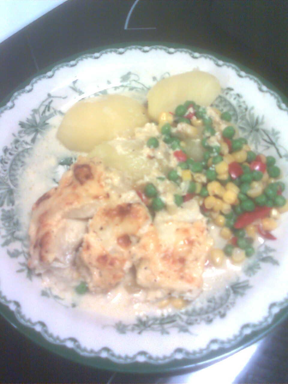 fisklåda med potatis