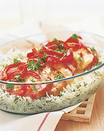 Kalaskassler på grönt ris