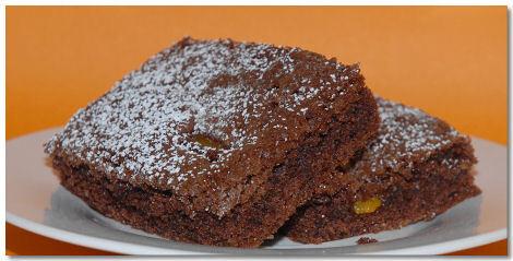 Persika- och chokladkaka