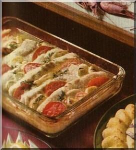Torsklåda med tomat, dill och lök