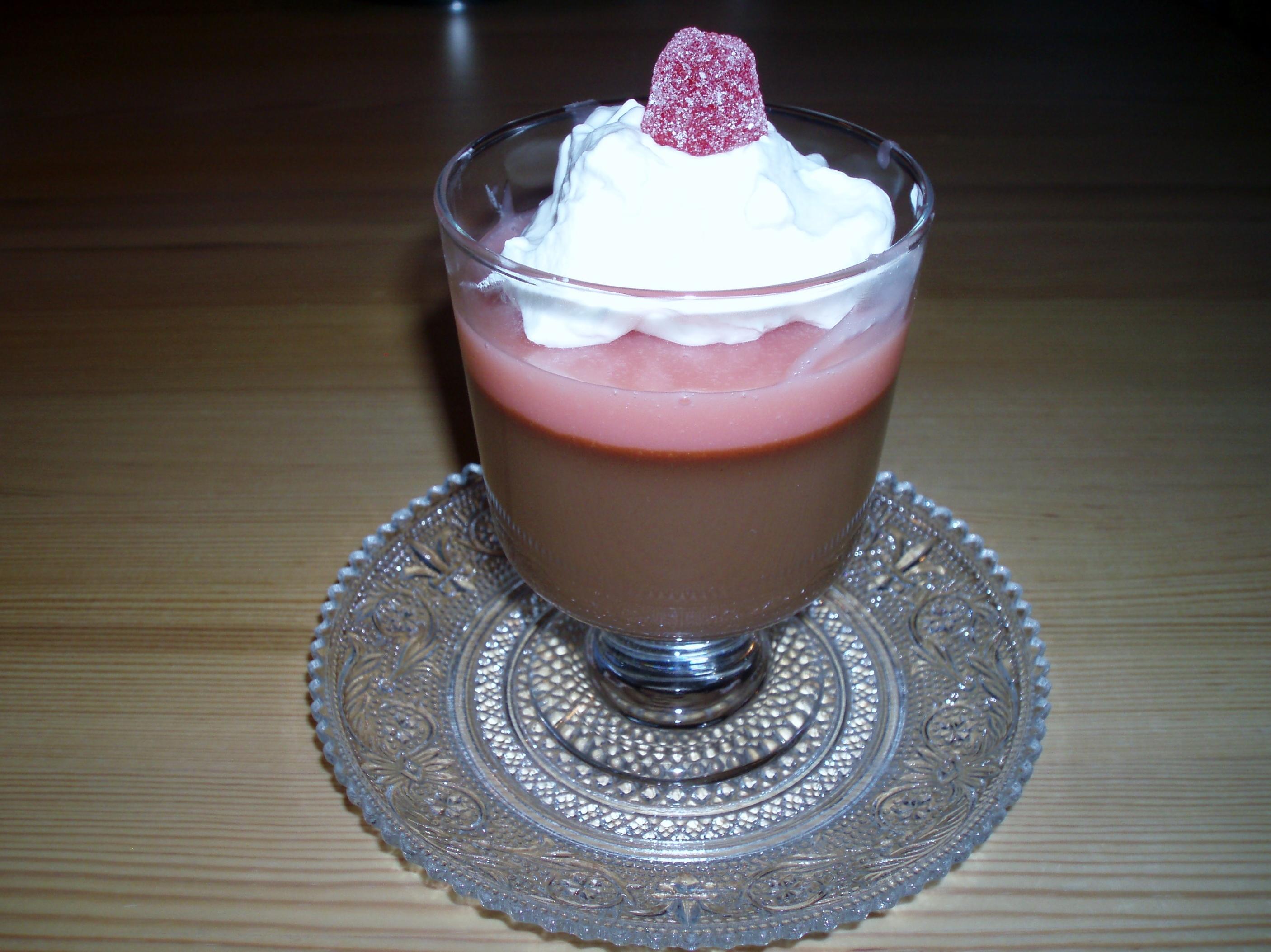 Choklad och kaffepannacotta med geléhallontopp