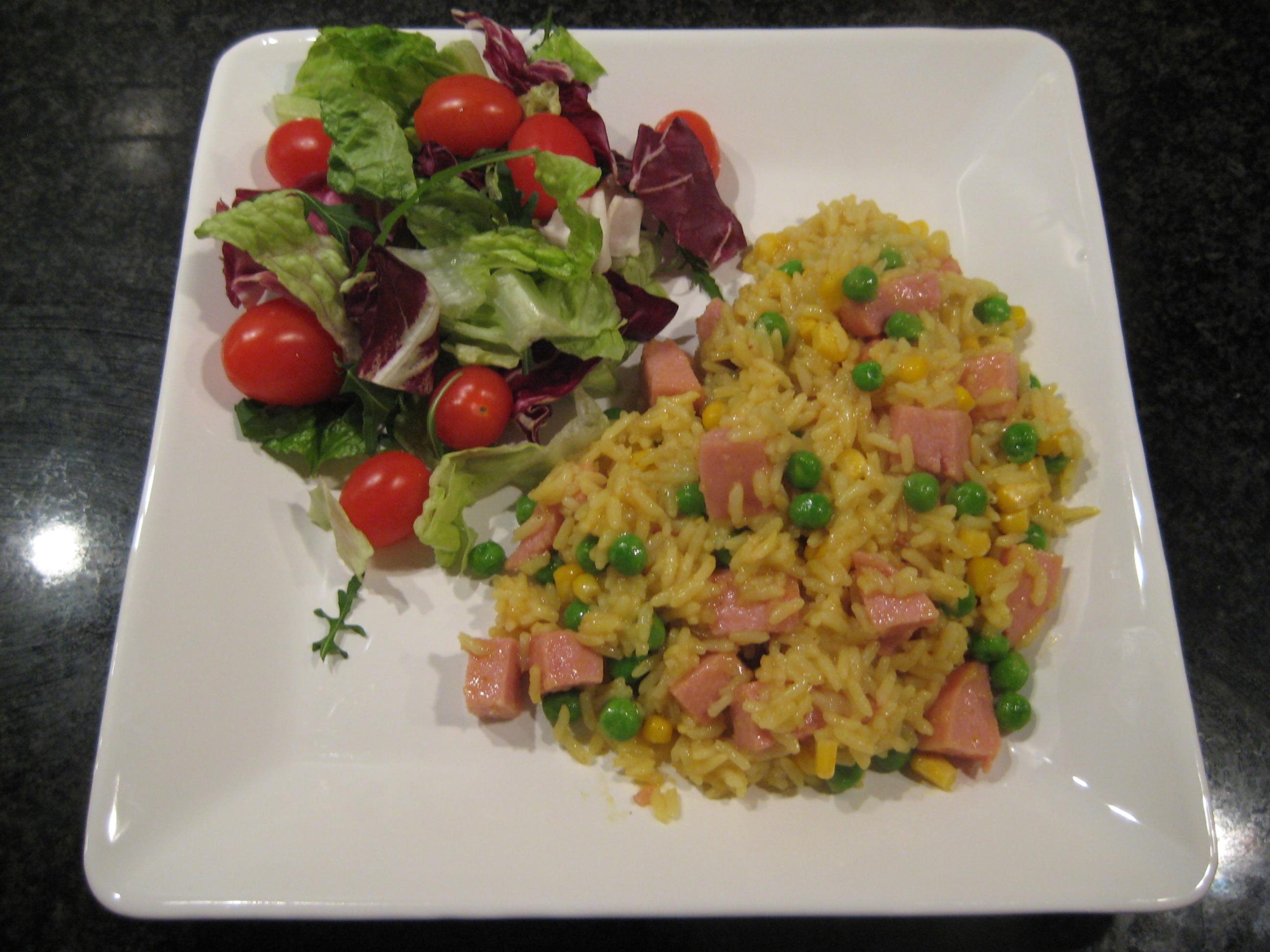 risotto gröna ärter korv majs ris