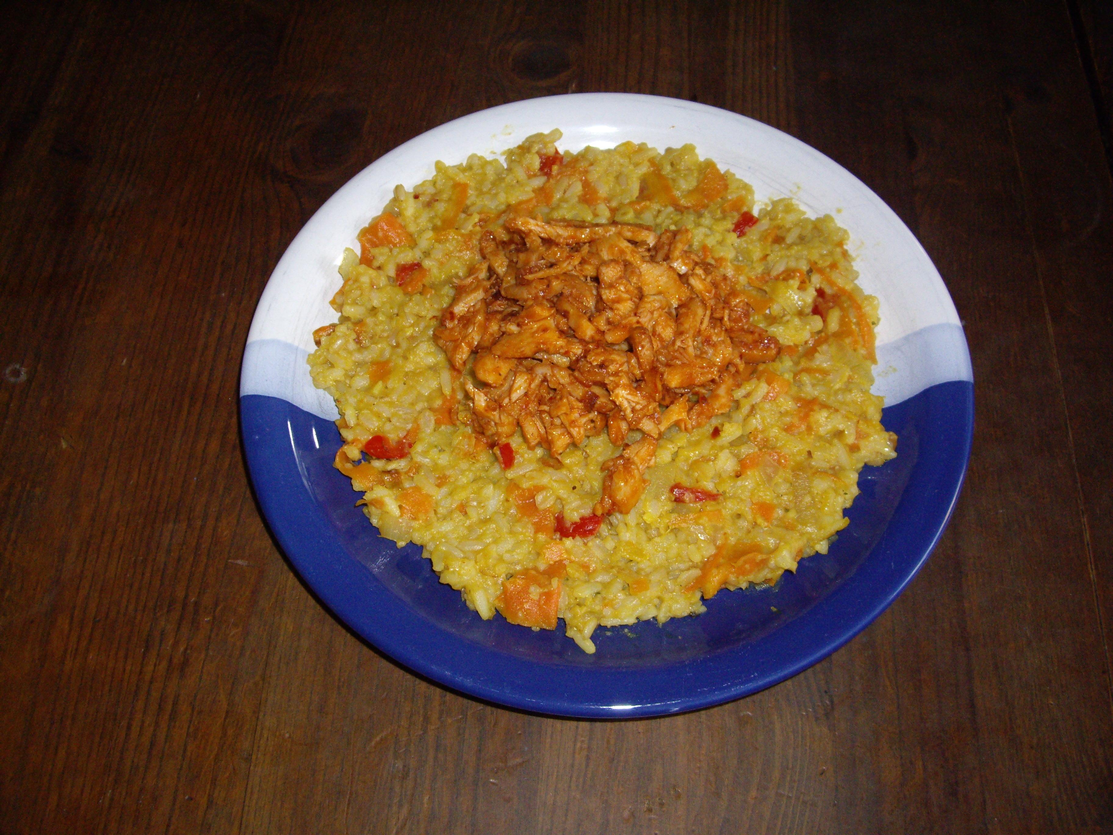 Kyckling-chiliröra med risotto