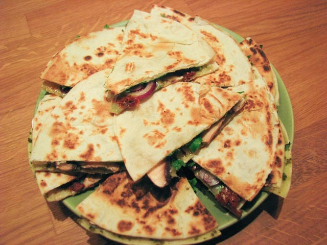 tortillasnittar med pesto