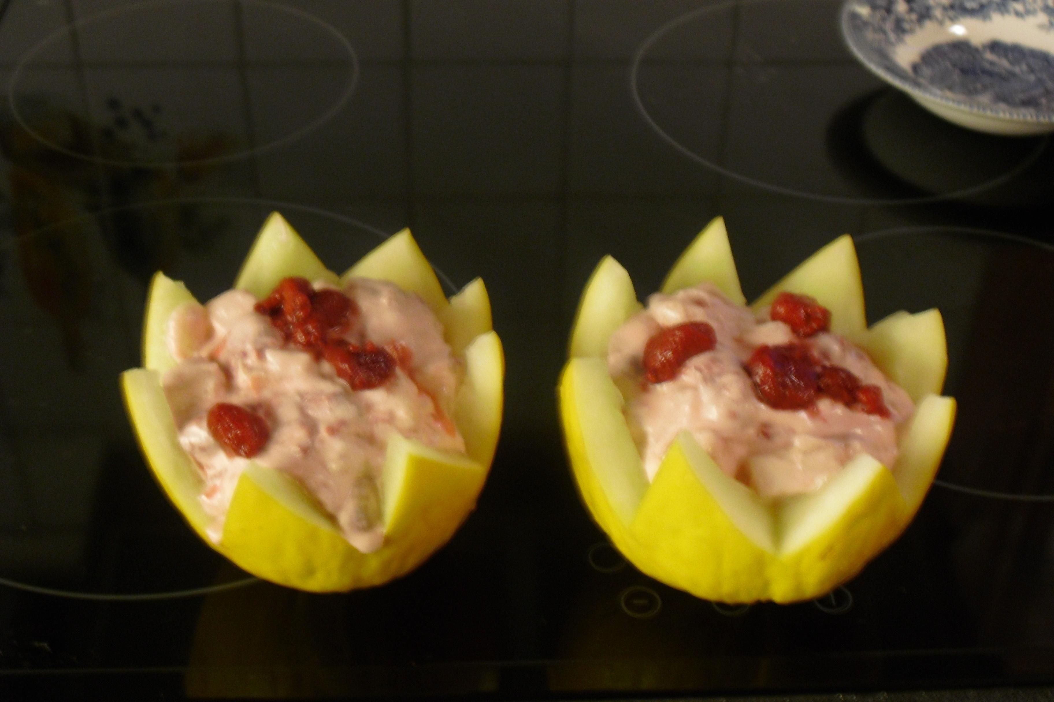 isad melon med hallongrädde