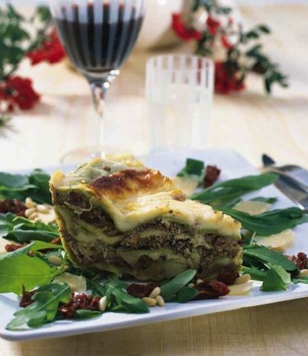 Lasagne med renskav och getost