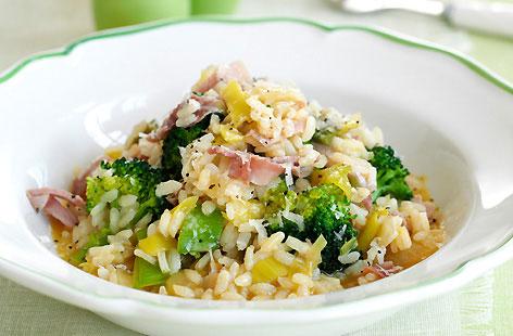 Risotto med skinka och broccoli