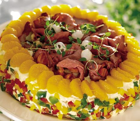 Rostbifftårta med bacon och leverpastej