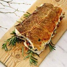 Torskstek med svamp- & baconfyllning