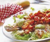 Ljummen kycklingsallad med guacamole