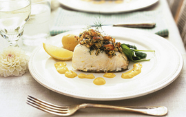 Pinje- och kräftbakad fisk