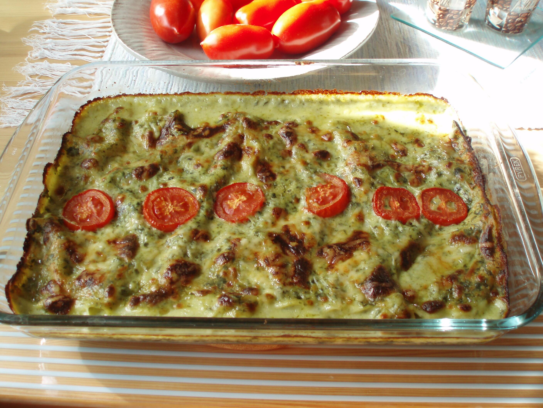 Kycklinglasagne med grön ostsås